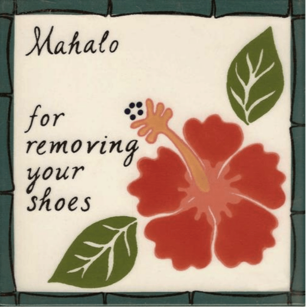 Red Hibiscus Remove Shoes Tile