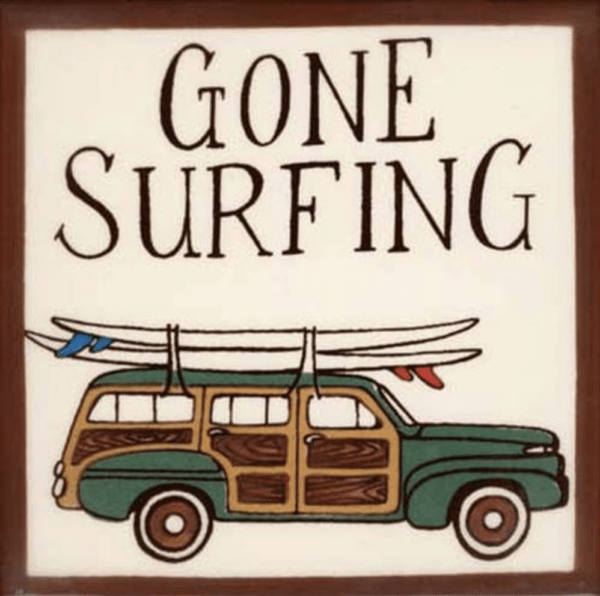 Gone Surfing Woody Wagon Tile