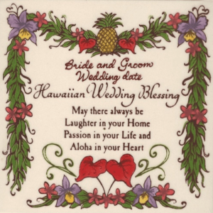 Custom Hawaiian Wedding Blessing Tile