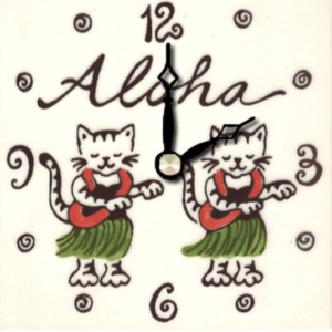 "Aloha Kitty 4"" Clock"