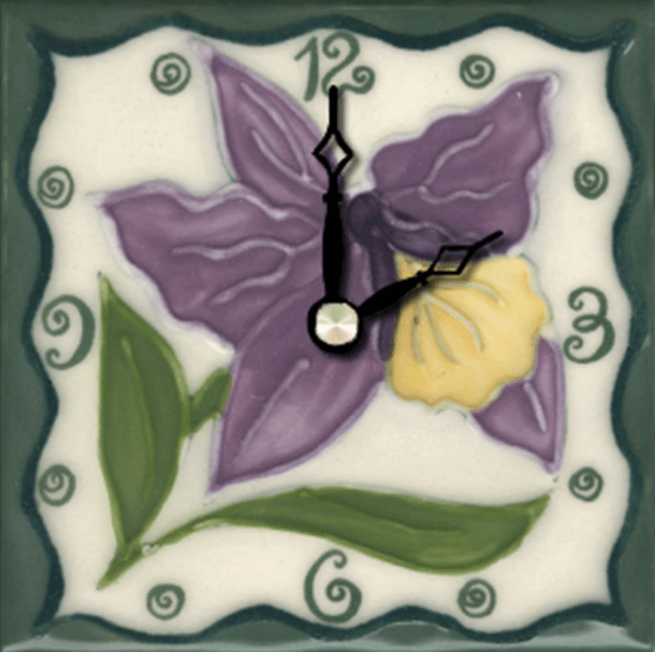 "Tropical Orchid 4"" Clock"