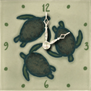 "Celadon Turtles 4"" Clock"