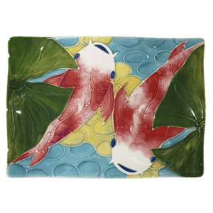 "14"" Flare Sushi Platter Tropical Koi Fish"