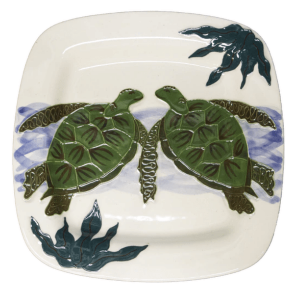 Square Rim Dinner Plate Embossed Honu (Turtle)