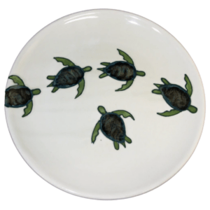 "15"" Coupe Platter Celadon Turtles"