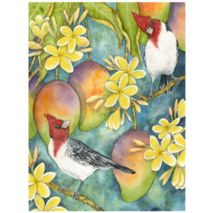 Brazilian Cardinals in the Plumeria Giclée