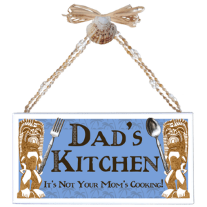 Dad's Kitchen Varnished Canvas Sign