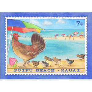 Poipu Beach Chicken Stamp Note Card