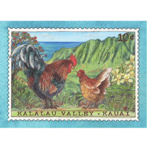 Kalalau Valley Chicken Stamp Note Card