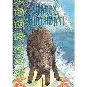 Happy Birthday Surfing Pig Greeting Card